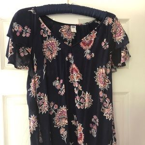 Women's Short Sleeve Floral V Neck Blouse Top